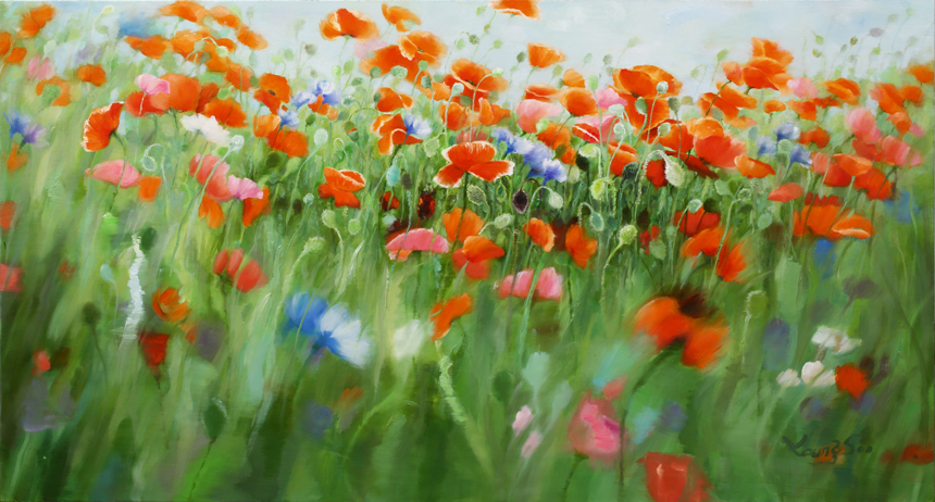 Natural Image(Poppy garden): 130x70cm Oil on canvas 2017